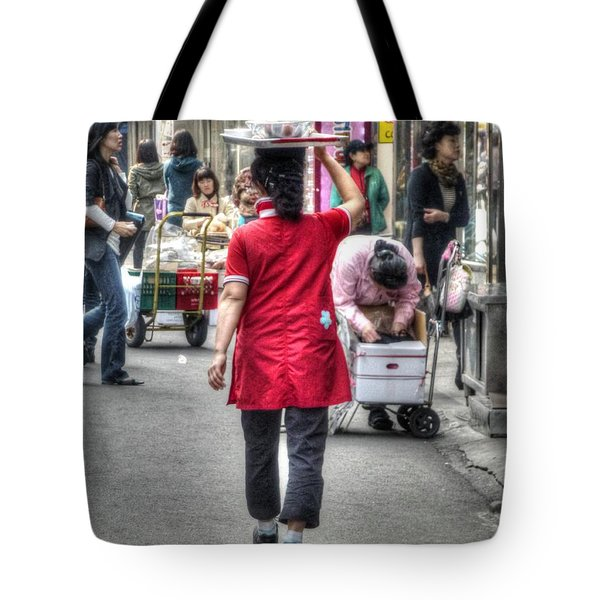 Lunch Run In Namdaemun Tote Bag by Michael Garyet