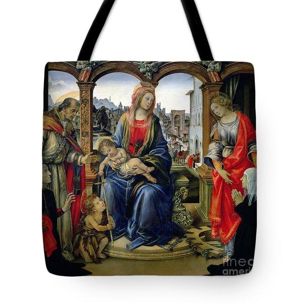Madonna And Child Tote Bag by Filippino Lippi