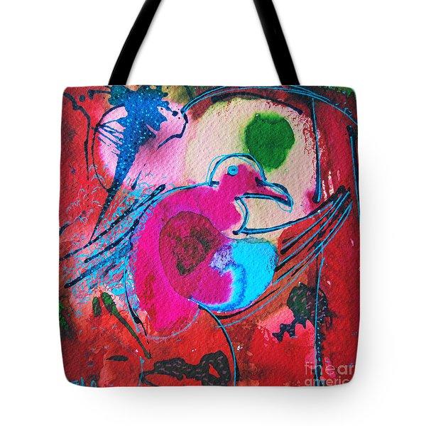 Magenta Marching Bird Tote Bag by Ana Maria Edulescu