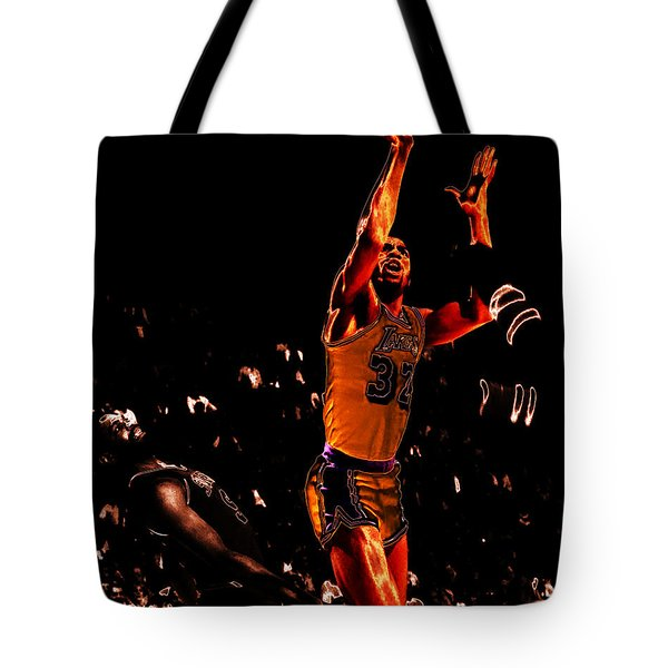 Magic Johnson Lean Back II Tote Bag by Brian Reaves