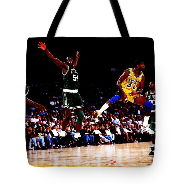 Magic Johnson No Look Pass 7a Tote Bag by Brian Reaves