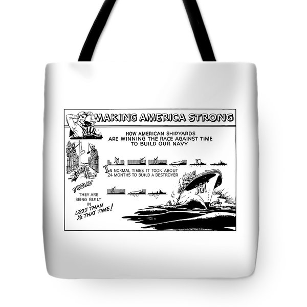 Making America Strong Ww2 Cartoon Tote Bag by War Is Hell Store