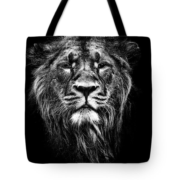 male asiatic lion Tote Bag by Meirion Matthias