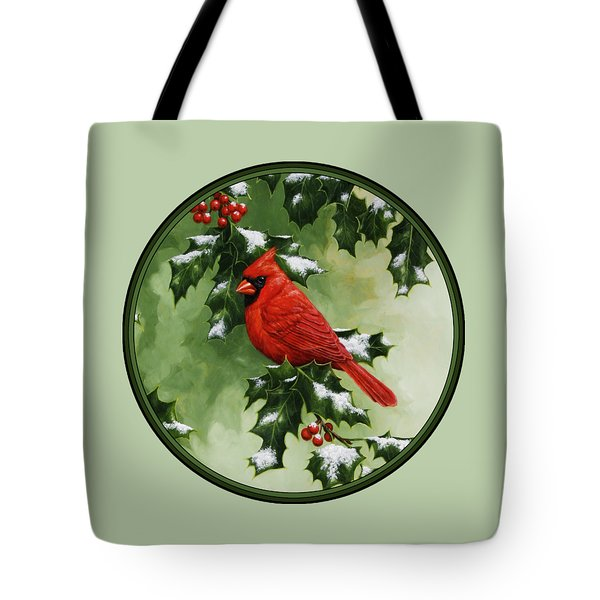 Male Cardinal And Holly Phone Case Tote Bag by Crista Forest