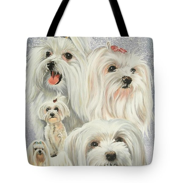 Maltese Collage Tote Bag by Barbara Keith