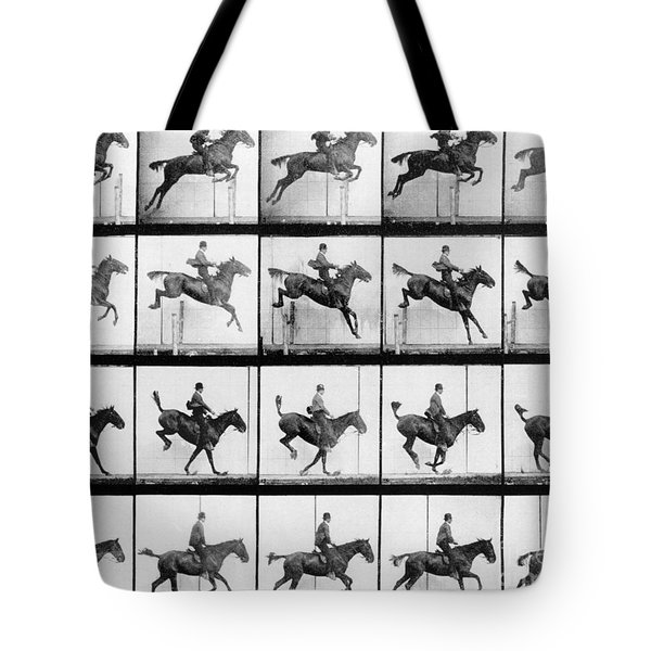 Man And Horse Jumping Tote Bag by Eadweard Muybridge