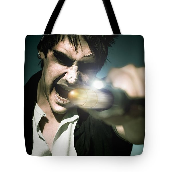 Man With Gun Tote Bag by Jorgo Photography - Wall Art Gallery