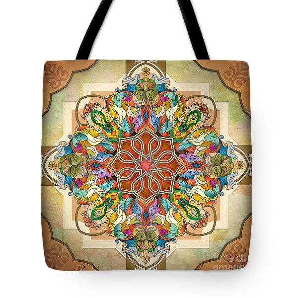 Mandala Birds Tote Bag by Bedros Awak