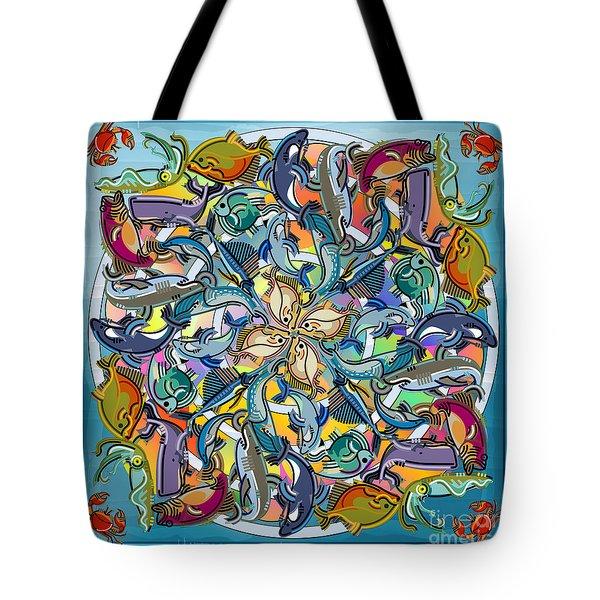 Mandala Fish Pool Tote Bag by Bedros Awak