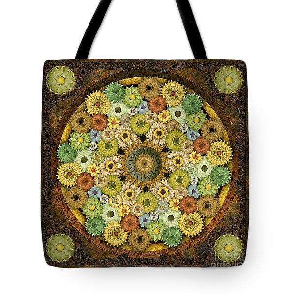 Mandala Stone Flowers Tote Bag by Bedros Awak