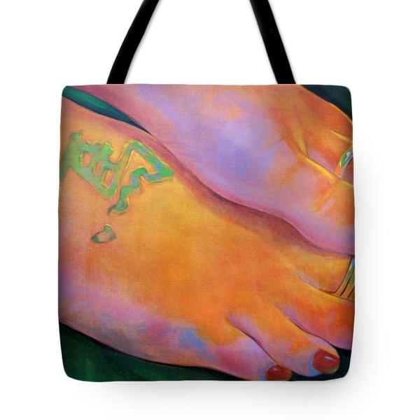 Mandy Toes Orange Tote Bag by Jerrold Carton
