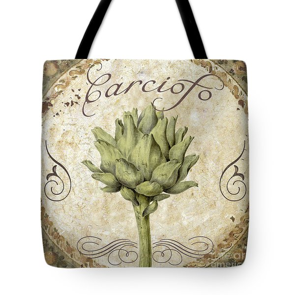 Mangia Carciofo Artichoke Tote Bag by Mindy Sommers