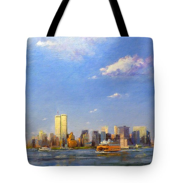 Manhattan And Twin Towers From New York Harbor Tote Bag by Peter Salwen