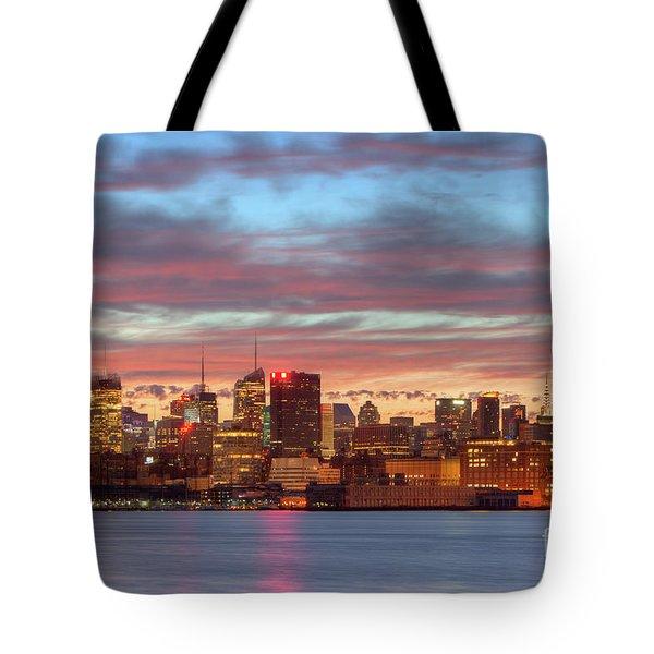 Manhattan Dawn Skyline I Tote Bag by Clarence Holmes