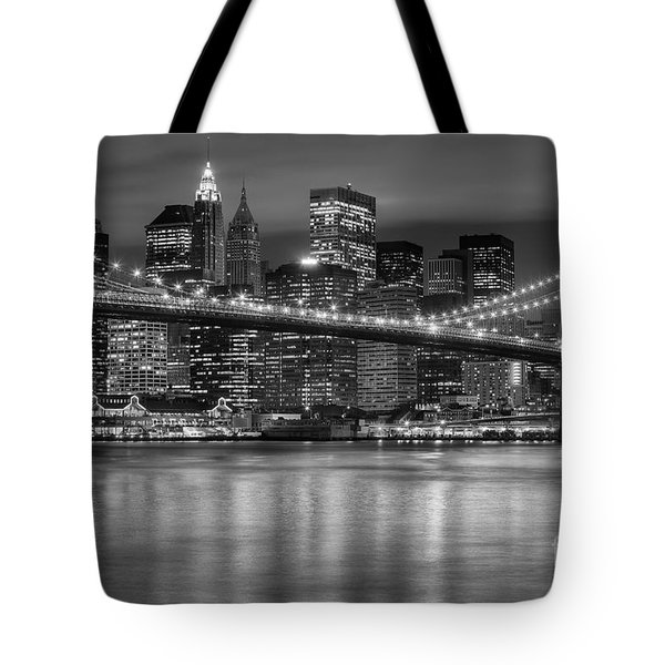 Manhattan Night Skyline Iv Tote Bag by Clarence Holmes