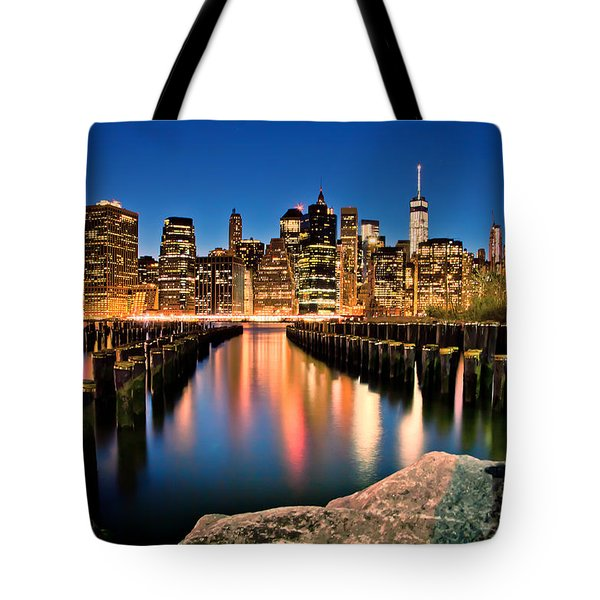 Manhattan Skyline At Dusk Tote Bag by Az Jackson