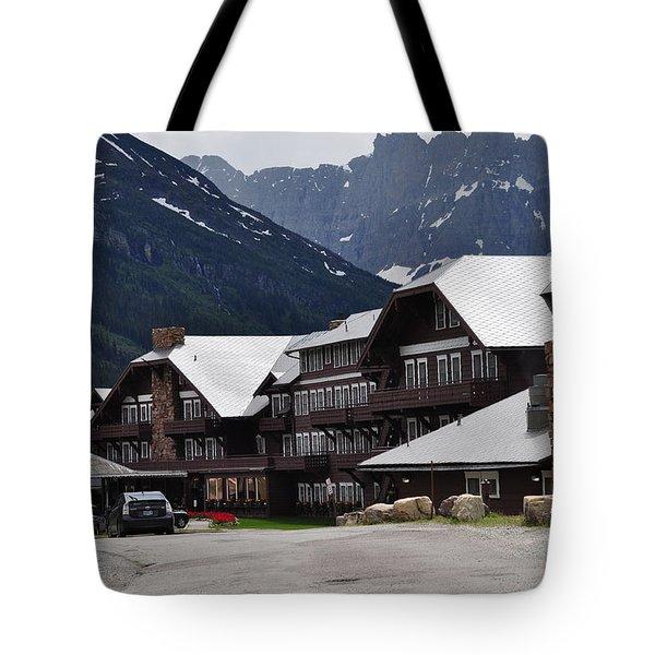 Many Glacier Lodge Tote Bag by Diana Nigon
