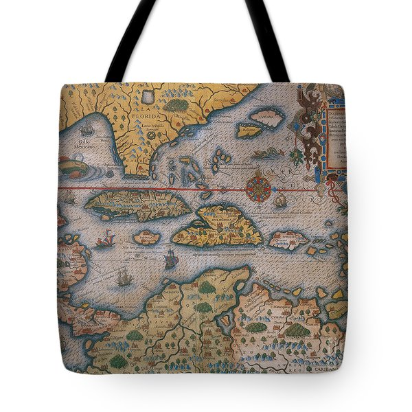 Map Of Gulf Of Mexico And C Tote Bag by Photo Researchers