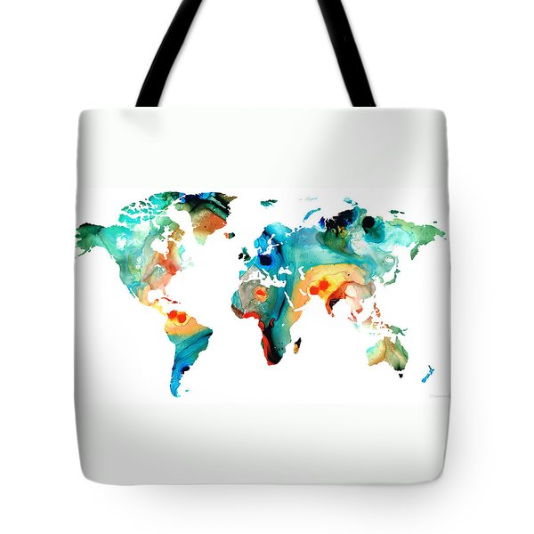 Map Of The World 11 -colorful Abstract Art Tote Bag by Sharon Cummings