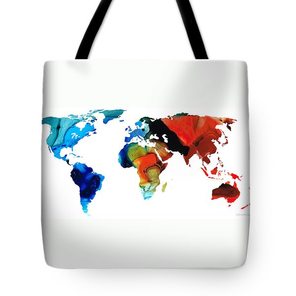 Map of The World 3 -Colorful Abstract Art Tote Bag by Sharon Cummings