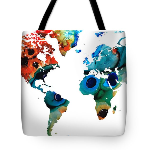 Map Of The World 6 -colorful Abstract Art Tote Bag by Sharon Cummings