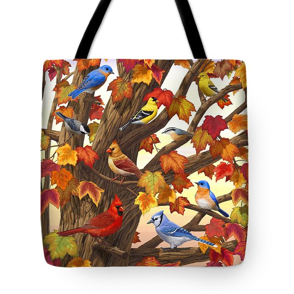 Maple Tree Marvel - Bird Painting Tote Bag by Crista Forest
