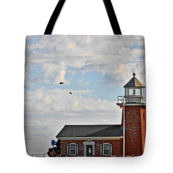 Mark Abbott Memorial Lighthouse  - Home of the Santa Cruz Surfing Museum CA USA Tote Bag by Christine Till