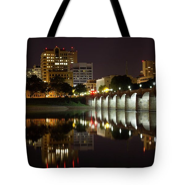 Market Street Bridge Reflections Tote Bag by Shelley Neff