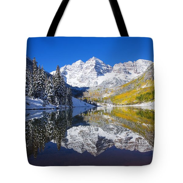 Maroon Lake and Bells 1 Tote Bag by Ron Dahlquist - Printscapes