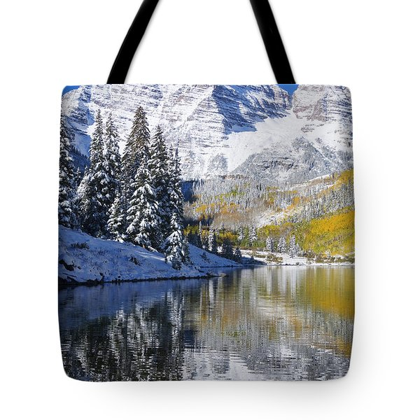 Maroon Lake And Bells 2 Tote Bag by Ron Dahlquist - Printscapes