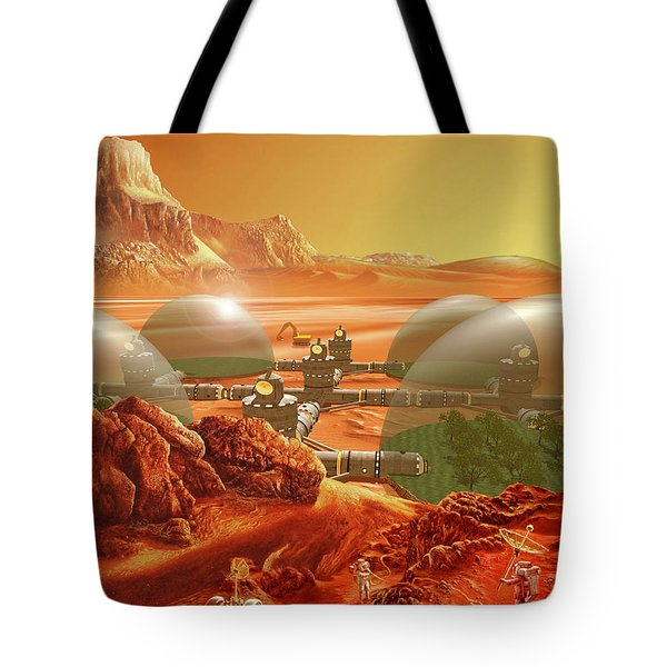 Mars Colony Tote Bag by Don Dixon