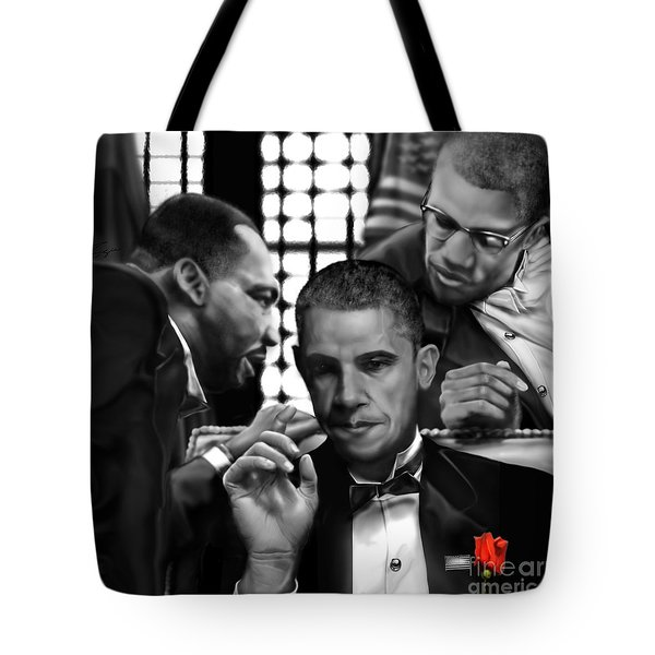 Martin Malcolm Barack And The Red Rose Tote Bag by Reggie Duffie