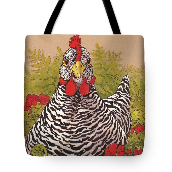 Matilda In The Geraniums Tote Bag by Tracie Thompson