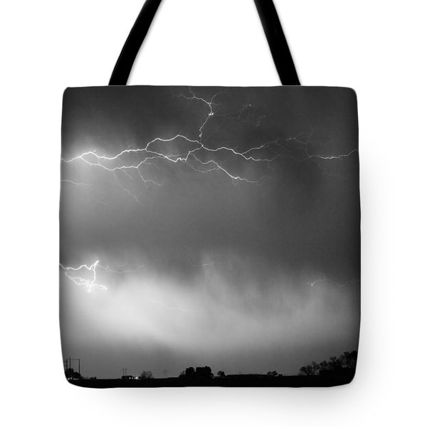 May Showers 2 in BW - Lightning Thunderstorm 5-10-2011 Boulder C Tote Bag by James BO  Insogna