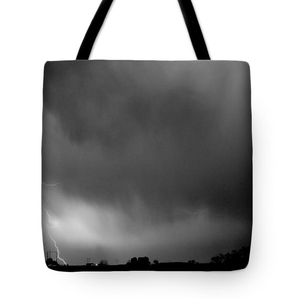 May Showers 3 In Bw - Lightning Thunderstorm 5-10-2011 Boulder C Tote Bag by James BO  Insogna