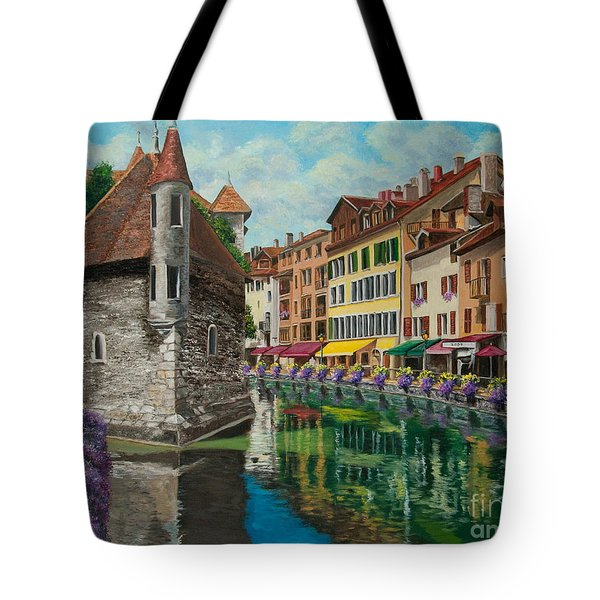 Medieval Jail In Annecy Tote Bag by Charlotte Blanchard