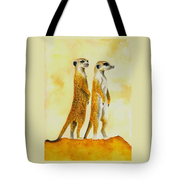 Meerkats Tote Bag by Michael Vigliotti