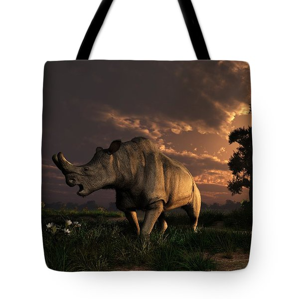 Megacerops At Breakfast Tote Bag by Daniel Eskridge