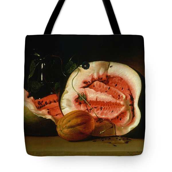 Melons And Morning Glories  Tote Bag by Raphaelle Peale