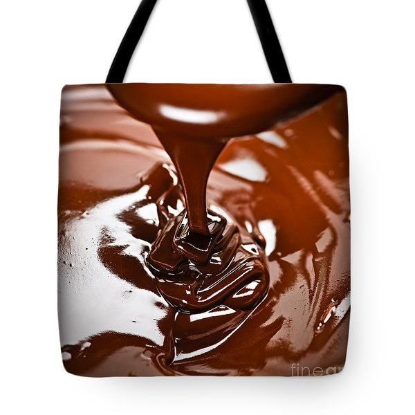 Melted chocolate and spoon Tote Bag by Elena Elisseeva