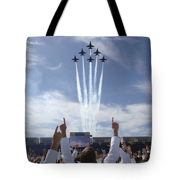 Members Of The U.s. Naval Academy Cheer Tote Bag by Stocktrek Images