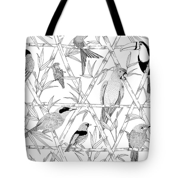 Menagerie Black And White Tote Bag by Jacqueline Colley