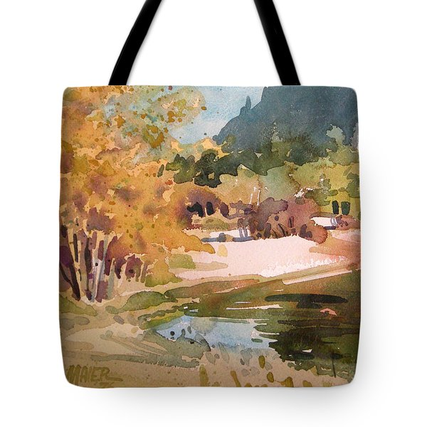 Merced River Encounter Tote Bag by Donald Maier