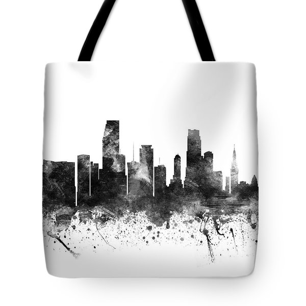 Miami Florida Cityscape 02bw Tote Bag by Aged Pixel