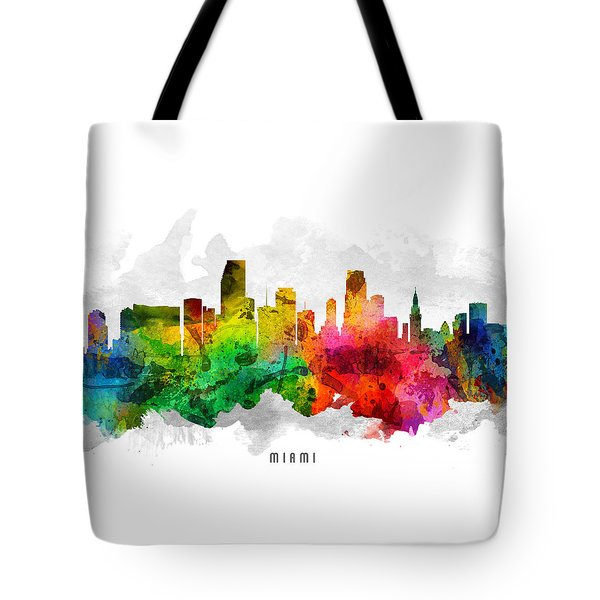 Miami Florida Cityscape 12 Tote Bag by Aged Pixel