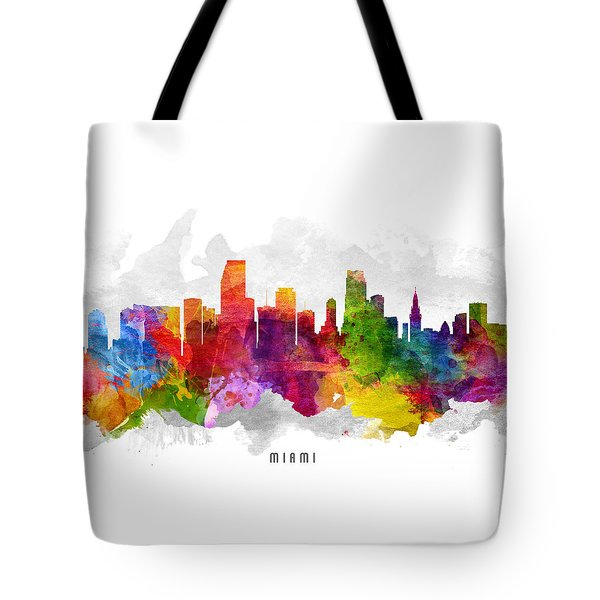 Miami Florida Cityscape 13 Tote Bag by Aged Pixel