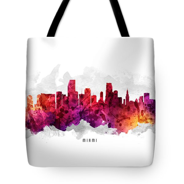 Miami Florida Cityscape 14 Tote Bag by Aged Pixel