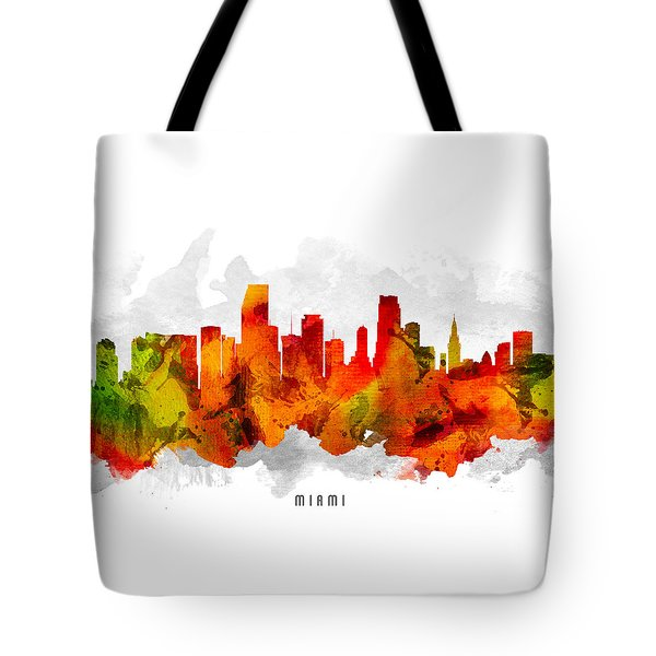 Miami Florida Cityscape 15 Tote Bag by Aged Pixel