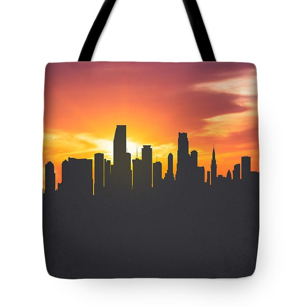 Miami Florida Sunset Skyline 01 Tote Bag by Aged Pixel