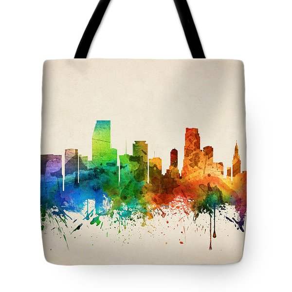 Miami Florida Skyline 05 Tote Bag by Aged Pixel